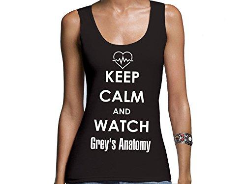Damen Tanktop mit Druck Keep Calm and watch Grey's Anatomy (S)