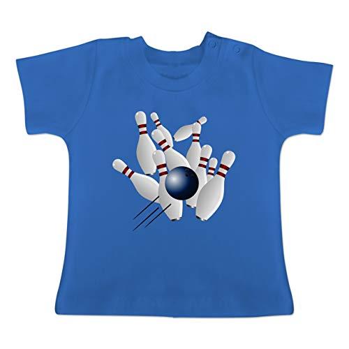 Sport Baby - Bowling Strike Pins Ball - 3-6 Monate - Royalblau - BZ02 - Baby T-Shirt Kurzarm