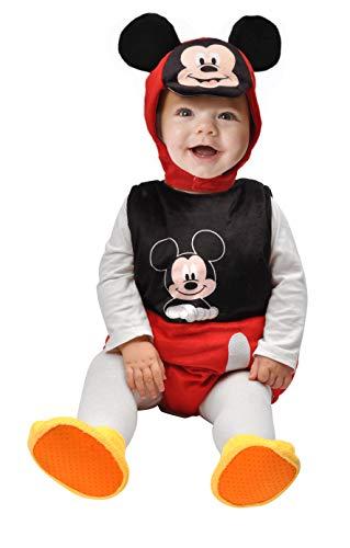 Ciao Baby Mickey Kostüm für Mädchen, 6-12 Monate, Unisex, Schwarz, Rot, Weiß, 11254.6-12 (Mickey Baby Kostüm)