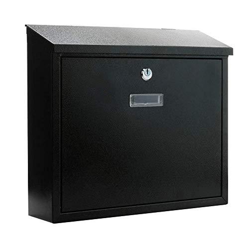 PrimeMatik - Buzón metálico para Cartas y Correo Postal de Color Negro 350x90x320 mm