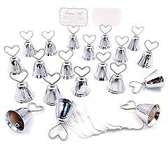Idea Regalo - JZK 20 x Segnaposto campanelle cuore tirabaci bomboniera matrimonio battesimo compleanno Albero di Natale campana tirabaci