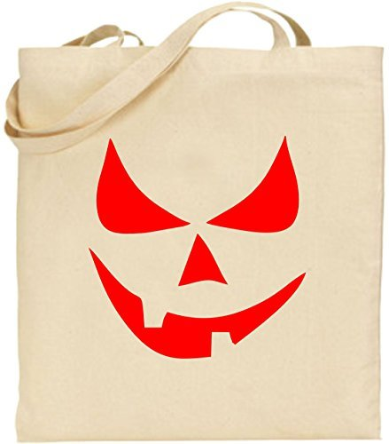 tasche Scary Smiley, Kürbis Halloween Scary Trick treat Cool Cute Umweltfreundlich wiederverwendbar Natural Handtasche für Damen (Machen Trick Oder Treat Taschen)