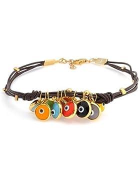 Bling Jewelry 14k Gold Vermeil Mehrfarbig das Böse Auge Braunes Leder Armband 7,5 Zoll