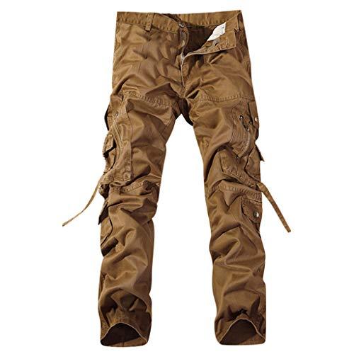 MOTOCO Herren Sporthose Sommer Persönlichkeit Lässige Baumwollgurt Normallack Multi-Pocket Übergröße Cargo Pants(30,Gelb) Corduroy Cropped Pants