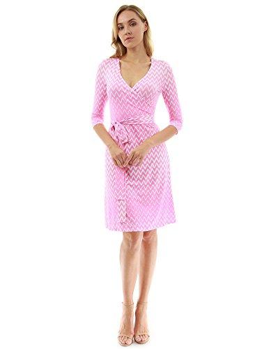 PattyBoutik Damen geometrisches faux wrap Sonnenkleid mit V-Ausschnitt rosa und weiß 20