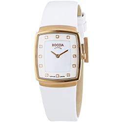 Boccia Women's Quartz Watch with Mother of Pearl Dial Analogue Display and White Leather Strap B3237-03