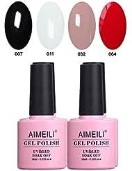 AIMEILI Soak Off UV LED Noir Blanc Nude Rouge Vernis à Ongles Gel Semi-Permanent Lot Color Mix/Multi-Colored Kit Set Ensemble de Couleurs 4 X 10ml (SET4-19)