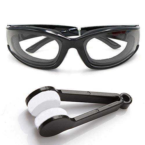 zbrille Küche Schutzbrille Zwiebelbrille Winddichte Staubdicht Reizung Tränen Sonnenbrille Brille Augen Protector für Haus und Küche Einsatz Mit Reinigungsbürsten(Schwarz) ()