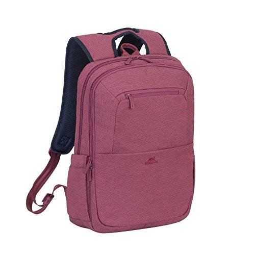 Rivacase Rucksack – wasserfester Rucksack mit Laptopfach (15,6 Zoll) und Tablet-Tasche (10,1 Zoll)  – dank Trolley-Gurt perfekt als Reiserucksack – Laptop Rucksack aus Polyester – rot