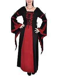 Grandeur Nature - Robe Médiévale Leona en coton - Noir/Rouge