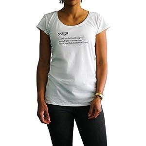 IckeMe Damen Yoga Premium Baumwolle Relax T-Shirt Statement Zitate