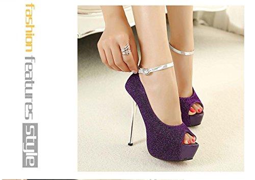 Women High Heel Platform Ceinture de cheville Stiletto Heel Chaussures de mariage Chaussures habillées Comforty High Heel Purple
