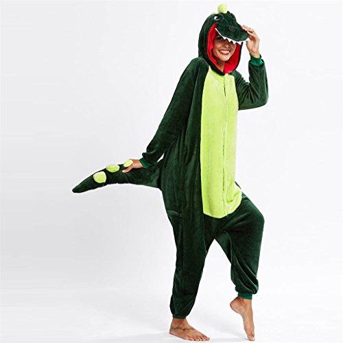 Fami-La tuta di Cosplay del pigiama di Natale della Novità dell'animale del fumetto flanella Verde