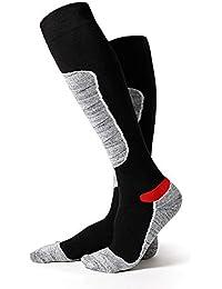 1 par de calcetines de esquí térmicos de alto rendimiento para hombre, manguera larga, calcetines gruesos, cómodos,…