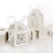 100pz. Carta di Bomboniera Per Confetti Caramelle Battesimo, Matrimonio, Compleanno - Cuore Bianco Avorio