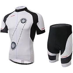 AUBIG-Conjunto de camiseta Unisex de ciclismo de manga corta con cremallera-Kabel elasticidad de ciclismo acolchada-Pantalones cortos y pantalones con peto y tirantes, color verde/blanco, talla S, M, L, XL-XXL-XXXL, color Cuissard Courte - Blanc, tamaño Talla L