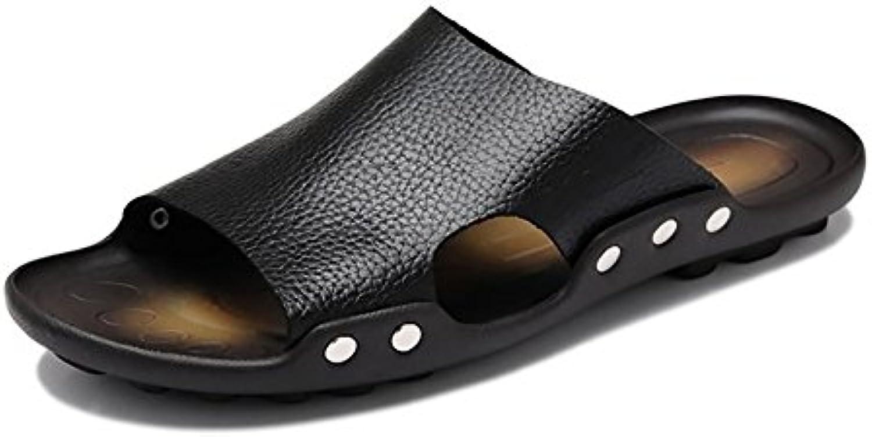 Roman Pantoffel Sandale Mann Strand Schuhe Open Toe Designed Soft Echtes Leder Rutschfeste Bequeme Vintage (39Pantoffel Sandale Open Toe Designed Rutschfeste