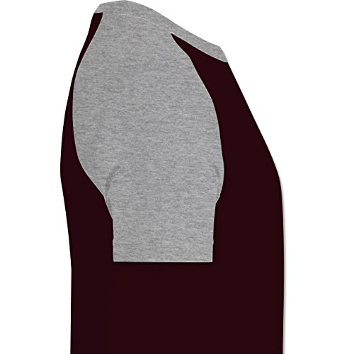 Statement Shirts - Take it easy - zweifarbiges Baseballshirt für Männer Burgundrot/Grau meliert