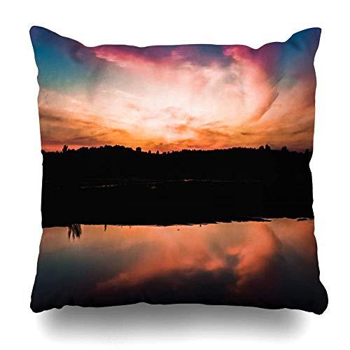 Klotr Kissenbezug Evening Orange Vivid Wide Angle Water Reflection Nature Cloud Color HDR Design Pillowcase Square Size 18 x 18 Inches Zippered Home Decor Cushion Case -
