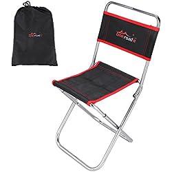 Tbest Chaise de Camping Pliante Portable avec Dossier en Alliage d'aluminium Mini Chaise de pêche Petit Tabouret Seat Come with Carry Bag for Hiking