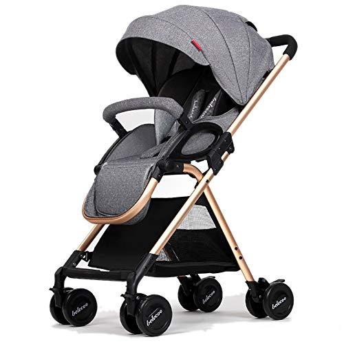 LIU UK Baby Stroller Kinderwagen kann sitzen und Sich hinlegen leichte Faltbare Stoßdämpfung Säugling 0-3 Jahre alt Push-Wagen (Farbe : Dunkelgrau)