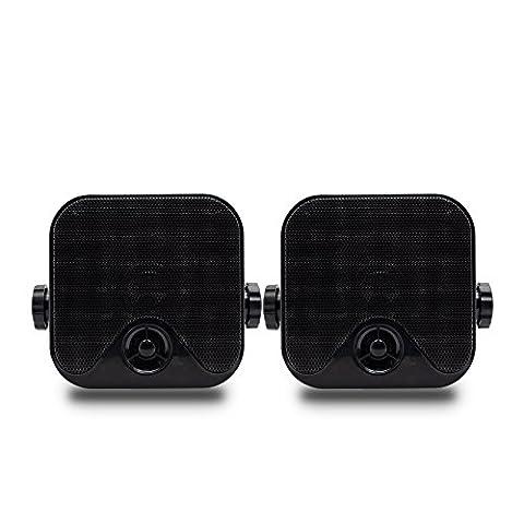Herdio Waterproof Box Speaker Marine Stereo Speakers Wall Mounting 4 Inch 100W IP66 Grade for ATV UTV Bathroom Swimming Pool Boat