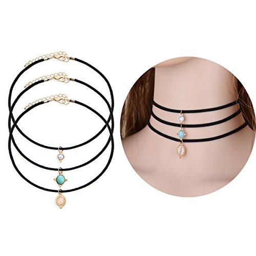 Frauen Bohemian Choker Halskette Tpocean 3 Layer Leder Handgefertigte Türkis Perlen Stein (Verkauf Einzelnen Kostüme Tanz)