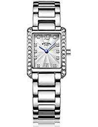 Rotary Women's Quartz Watch with Silver Dial Analogue Display and Silver Stainless Steel Bracelet LB00360/06