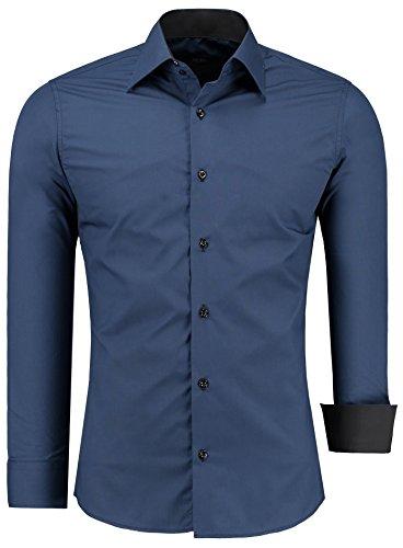 Herren-Hemd – Slim Fit – bügelfrei / bügelleicht – Ideal für Anzug, Freizeit, Business, Hochzeit – viele verschiedene Farben – Langarm Hemden mit Kontrast für Männer - navyblau - L