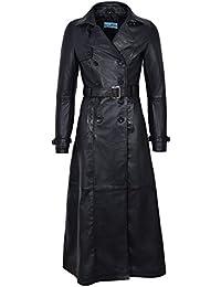 Smart Range Trench Ladies Black 1123 Full-Length Designer Real Lambskin Leather Jacket Coat