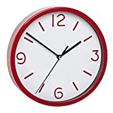 TFA-Dostmann Analoge Wanduhr TFA 60.3033 mit geräuscharmem Uhrwerk (Rot)