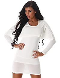 24brands Damen Longshirt langarm Sexy Kleid Oberteil Lagen-Look Shirt Bolero Tunika Minikleid -3178