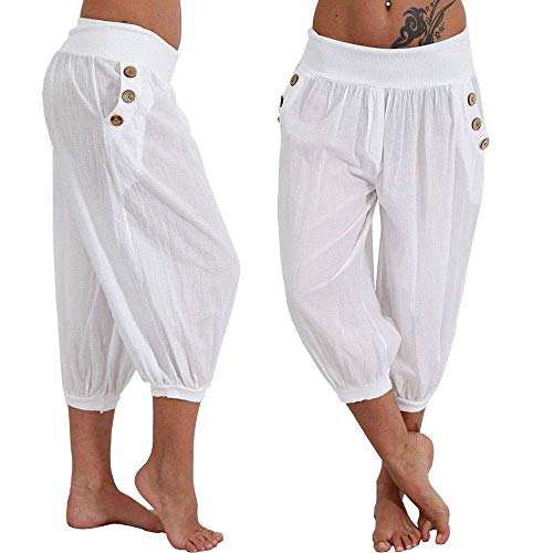 Jersey Yoga Capri Pant (Kneris Damen Hosen Sommer Haremshose Yogahose Aladinhose Baggy Capri Harem Stil mit Elastischen Bund)