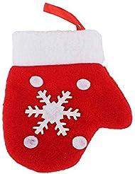 Ecloud Shop® Decoraciones de la Navidad 6pcs, pequeños pequeños guantes de los pequeños guantes rojos pendientes pequeños guantes
