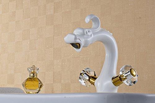 MangeooNeue Backen von weißer Farbe mit goldenen verchromt Kristallkugel, doppeltes Waschbecken, Spüle Wasserhahn, Dragon Crystal Ball (Dragon Crystal Ball)