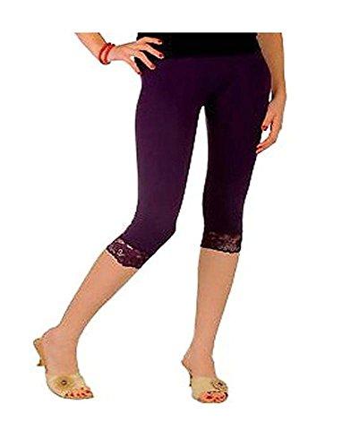 Damen hochwertiger Baumwolle weicher Stretch-Spitze unter Knie Ernte Leggings Farben & Gren Ebene 3/4(ref:2191lace), Lila, xx-gro Es-ebene