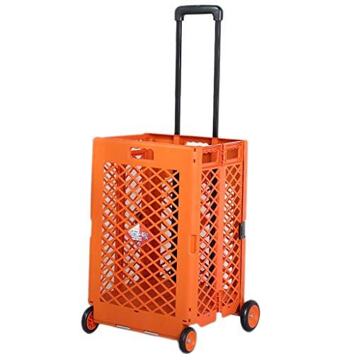 DUOER home-Einkaufstrolleys Schwarzer Plastikspeicher-Lösungs-25KG faltender Einkaufswagen-Schwerekisten-Auto-Camping sauberes Rad (Color : Orange)