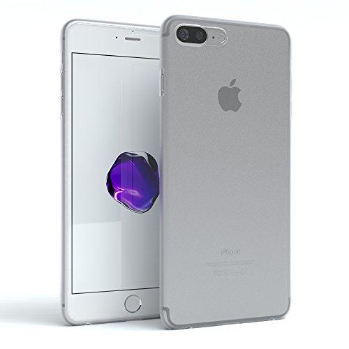 "iPhone 8+ Hülle / iPhone 7+ Hülle - EAZY CASE Premium ""CLEAR"" Slimcover Handyhülle für Apple iPhone 7 Plus & iPhone 8 Plus - Transparente Schutzhülle als Smartphone Cover in Transparent Matt Weiß"