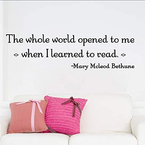 Die ganze Welt öffnete sich mir, als ich lernte, Zitate zu lesen Dekoration Wandaufkleber für Schlafzimmer Diy Decals Art Black (Bild Mir Lesen)
