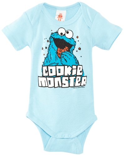 Logoshirt Babybody Sesame street- Cookie Monster Pyjama Baby Jungen, Blau (Light Blue), 92 - Monster-pyjama Herren-cookie
