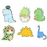 FaithHeart Dinosaurio Serie Broches Infantiles para Niños Pin 6 Piezas Juego Material Aleación Esmalte Accesorios Decorativos de Mochilas