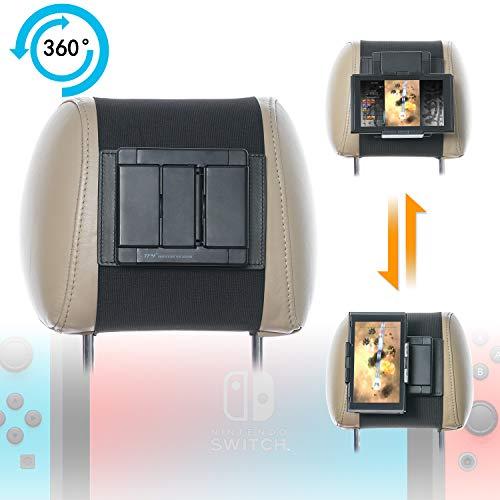 Ninitendo Schalter-Autohalterung TFY drehbare Kopfstützen-Halterung aus Silikon für Game Machine Nintendo Switch und andere 12,7 bis 10,5 Zoll Handys und Tablets (Tablet Spielautomat)