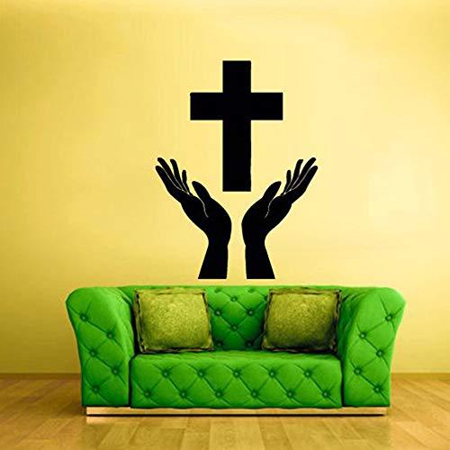 WSYYW Kreuz Beten Gebet Gott Jesus Christian Wandaufkleber Christliche Dekorative Aufkleber Abnehmbare Vinyl Wandtattoo Wandaufkleber In Haus Und Garten Stilvolle Schlafzimmer Hellblau 77x57 cm