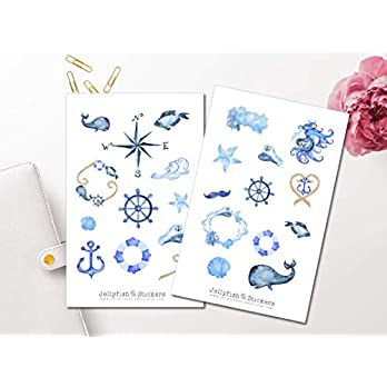 Maritim Sticker Set | Aufkleber Meer | Journal Sticker | Sticker Wal | Sticker Anker
