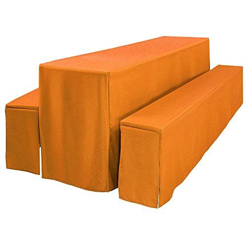 Beautissu Comfort L gepolsterte Bierbankhusse & Tisch-Husse 3 TLG. Set bodenlang für 70cm Festzeltgarnituren Orange & weitere Farben