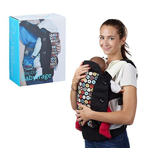 little Choice Babytrage Cosy Chic, gemusterte Bauchtrage ab 3 Monate, ergonomische Rückentrage m. Sonnenschutz, schwarz