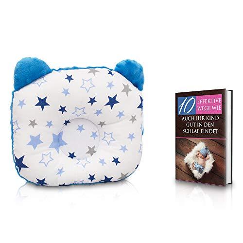 KidiZone das ergonomische Babykissen gegen Plattkopf und Kopfverformung mit Oeko-Tex 100 Zertifikat. Kinderkissen, Lagerungskissen, baby pillow für die Baby Erstaustattung + kostenloses eBook (blau)