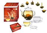 """Creano - Un Mix di tè di Fiori - Set Regalo """"Fior di tè"""" con Bricco di Vetro - tè Bianco (6 Tipi Diversi), 2 Tazze di Vetro con Piattino 100ml"""