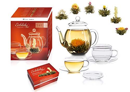 Creano Teeblumen Mix - Geschenkset Erblühtee Genießerset mit Glaskanne und Teetassen Weißtee (6 verschiedene Sorten)