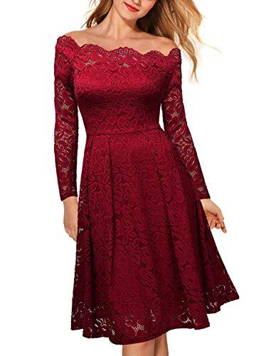 Miusol Damen Vintage 1950er Off Schulter Cocktailkleid Retro Spitzen Schwingen Pinup Rockabilly Kleid Rot Gr.M - 5